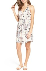 Lush Women's Floral Print Ruffle Fit And Flare Dress