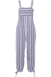 Band Of Outsiders Stripe Eyelet Cotton Chambray Jumpsuit