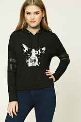 Forever 21 Sequin French Bulldog Hoodie Black