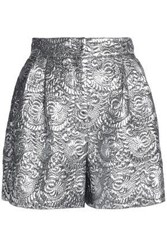 Dolce And Gabbana Pleated Metallic Brocade Shorts Silver