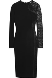 Stella Mccartney Lace Paneled Stretch Crepe Dress Black
