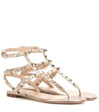 Valentino Rockstud Leather Sandals Gold