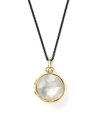 Monica Rich Kosann 18K Yellow Gold And Black Steel Petite Locket Necklace With Rock Crystal And Mother Of Pearl Doublet 30 White Black