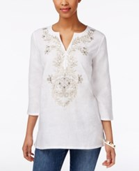 Charter Club Linen Embroidered Tunic Only At Macy's Bright White