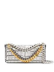 Tom Ford Crocodile Embossed Shoulder Bag Silver