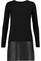 Bailey 44 Sedgwick Faux Leather Paneled Stretch Jersey Dress Black