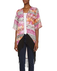 Romeo And Juliet Couture Mixed Print Long Fringe Kimono Purple Coral