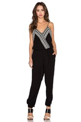 Greylin Inez Embroidered Jumpsuit Black And White