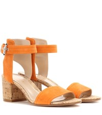Gianvito Rossi Rikki Low Suede Sandals Orange