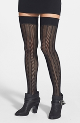 Vince Camuto Openwork Knit Thigh High Socks Black