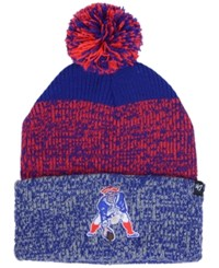 47 Brand '47 New England Patriots Static Cuff Pom Knit Hat Royalblue Red Heather Gray