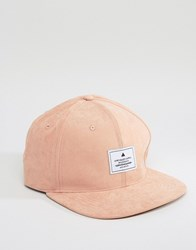 Asos Snapback Cap In Pink Peached Texture Pink
