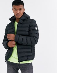 Good For Nothing Hooded Puffer Jacket In Black