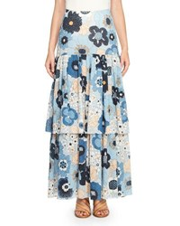 Chloe Tiered Floral Maxi Skirt Blue Multi
