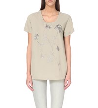Allsaints Nathalia Floral Embroidered Chiffon T Shirt Champagne Pink