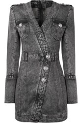 Balmain Button Embellished Acid Wash Denim Mini Dress Gray