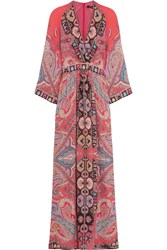 Etro Printed Silk Crepe De Chine Maxi Dress Coral Pink