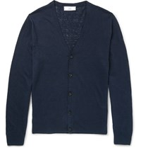 Ami Alexandre Mattiussi Linen And Cotton Blend Cardigan Blue