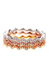 Candela Tricolor Sterling Silver Cz Zig Zag Ring Set Clear