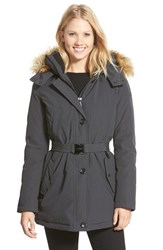 Women's Vince Camuto Faux Fur Trim Belted Down And Feather Fill Parka Iron