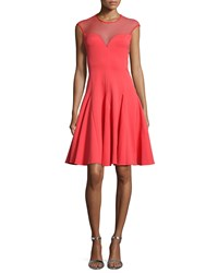 Halston Heritage Cap Sleeve Mesh Yoke Dress Vermillion