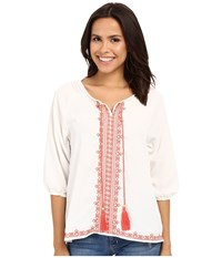 Rock And Roll Cowgirl 3 4 Sleeve Tunic B4 6387 Natural Women's Blouse Beige