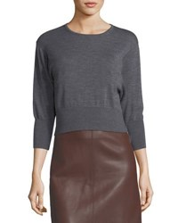 Diane Von Furstenberg Crewneck Cropped Knit Pullover Sweater Brown