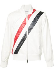 Thom Browne Striped Bomber Jacket White