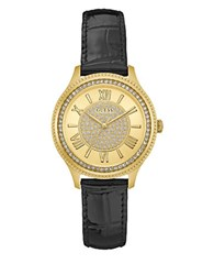Guess Madison Crystal Round Leather Strap Watch Black