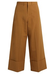 Sea Wide Leg Silk And Cotton Blend Cropped Trousers Tan