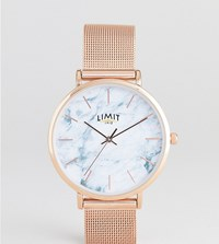 Limit Marble Effect Mesh Watch In Rose Gold Exclusive To Asos 36Mm Rose Gold