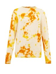 The Elder Statesman Tie Dye Cashmere Sweater Orange Multi