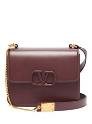 Valentino V Ring Leather Bag Burgundy
