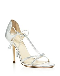 Frances Valentine Valentina Metallic T Strap High Heel Sandals Silver