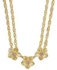 Charter Club Gold Tone Triple Flower Crystal Double Chain Statement Necklace Only At Macy's
