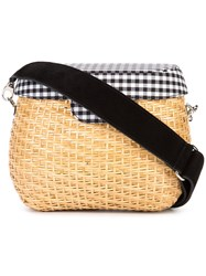 Edie Parker Jane Gingham Crossbody Bag Women Cotton Straw One Size Brown