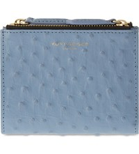 Kurt Geiger Mini Ostrich Embossed Leather Wallet Pale Blue