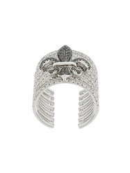Elise Dray Crown Embellished Ring Metallic