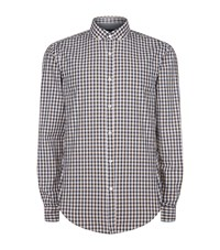 Boss Slim Fit Checked Shirt Brown