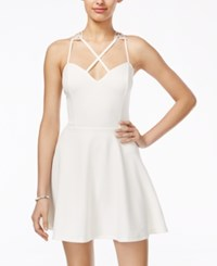 Material Girl Juniors' Strappy Racerback Fit And Flare Dress Only At Macy's White