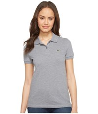 Lacoste Short Sleeve Classic Fit Pique Polo Shirt Chine Platinum Women's Short Sleeve Knit Gray