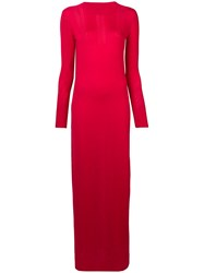 Barrie Long Knitted Slit Dress Red