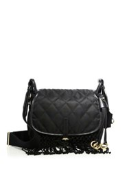 Prada Quilted Leather And Fringe Messenger Bag Black