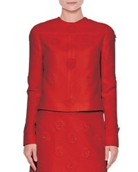 Valentino Long Sleeve Daisy Couture Jacket Red