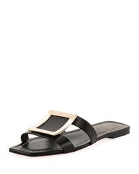 Roger Vivier Leather Mules With Metal Buckles Black