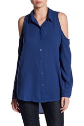 14Th And Union Long Sleeve Cold Shoulder Button Down Shirt Blue