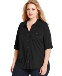 Style And Co. Plus Size Three Quarter Sleeve Utility Shirt Deep Black