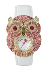 Betsey Johnson Women's Pave Crystal Owl Case Leather Strap Watch White