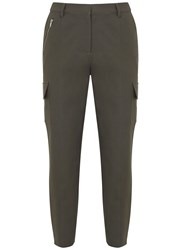 Mint Velvet Khaki Stretch Cargo Trouser Dark Green