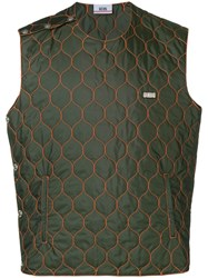 Gcds Quilted Shell Vest Green